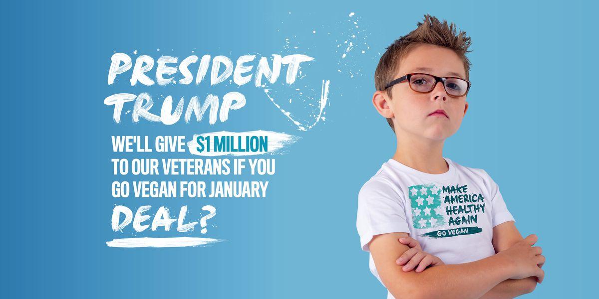 Group offers $1 million to veterans if President Trump goes vegan for January