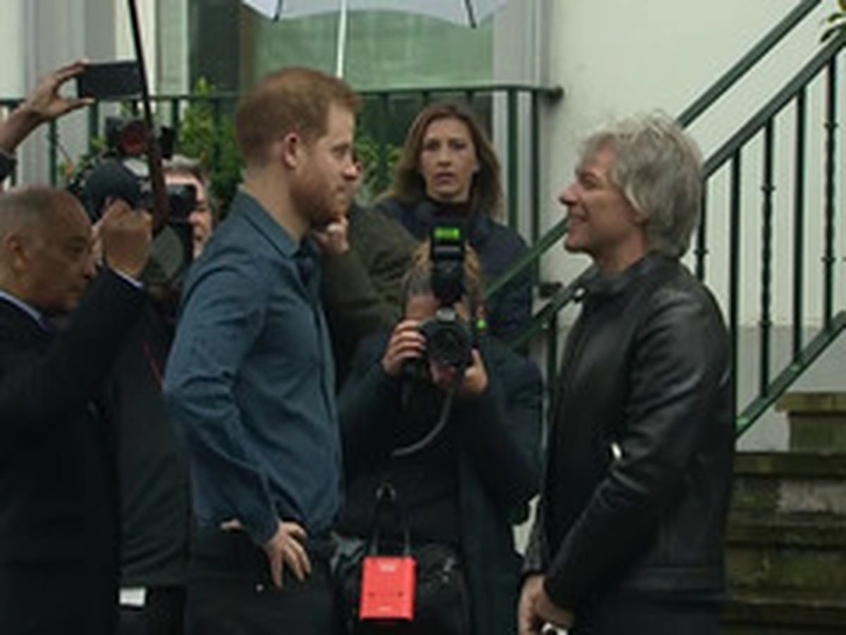 Prince Harry meets Jon Bon Jovi at Abbey Road in London to record charity single