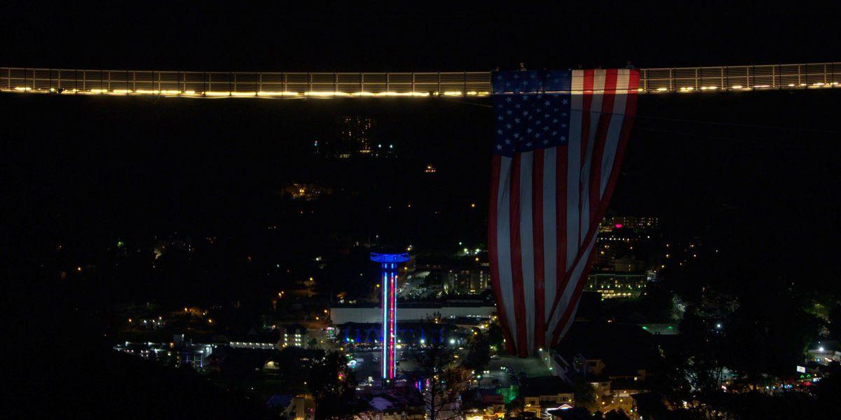 Massive American flag draped over Gatlinburg SkyBridge