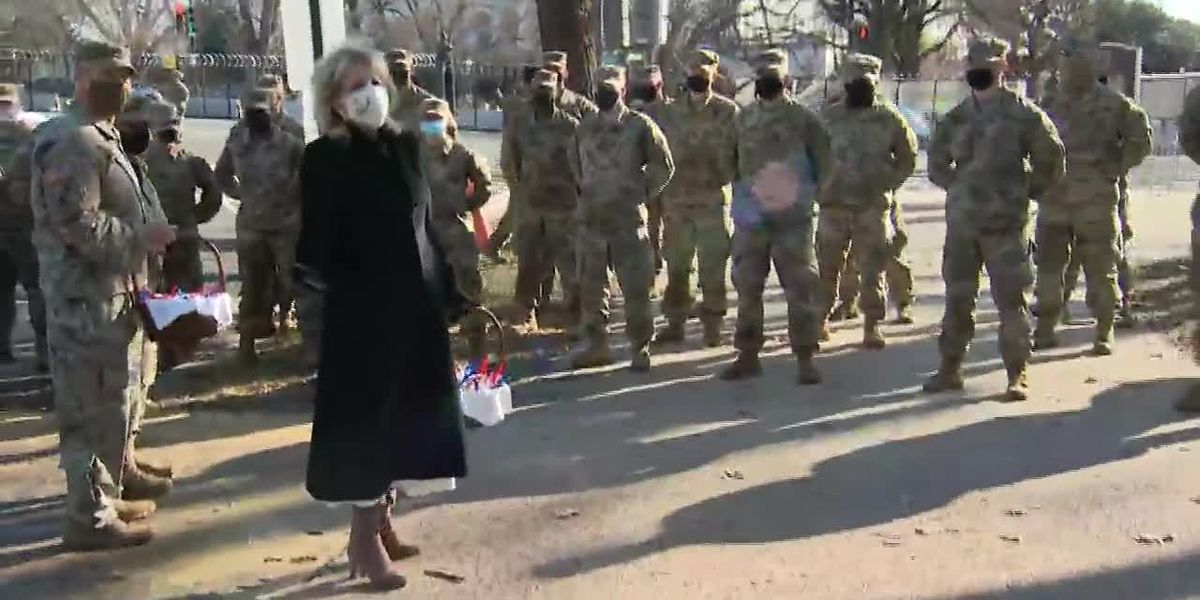 First lady delivers treats to National Guard