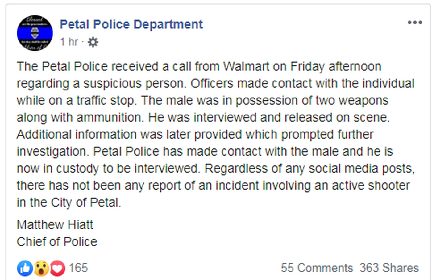 Walmart Call In Number >> Armed Man In Custody After Suspicious Person Call From Petal Walmart