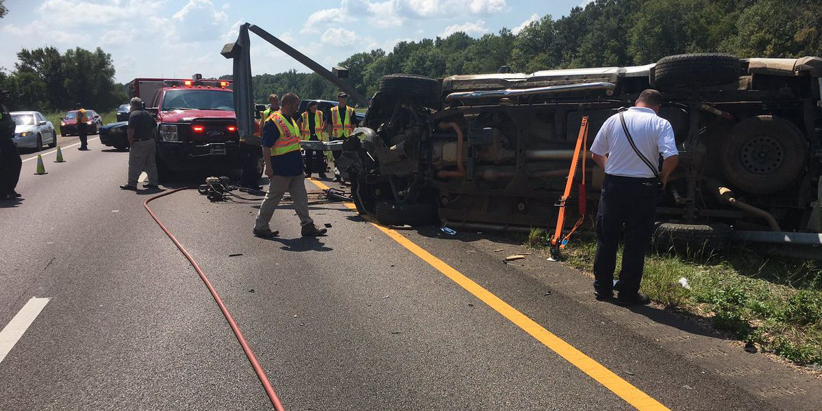 First responders extract driver after truck flipped on I-55 N in Madison