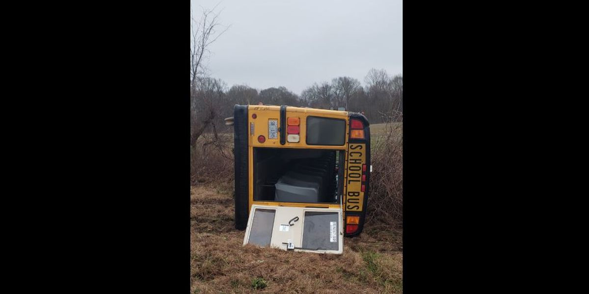 School bus overturns in Hinds County with students inside