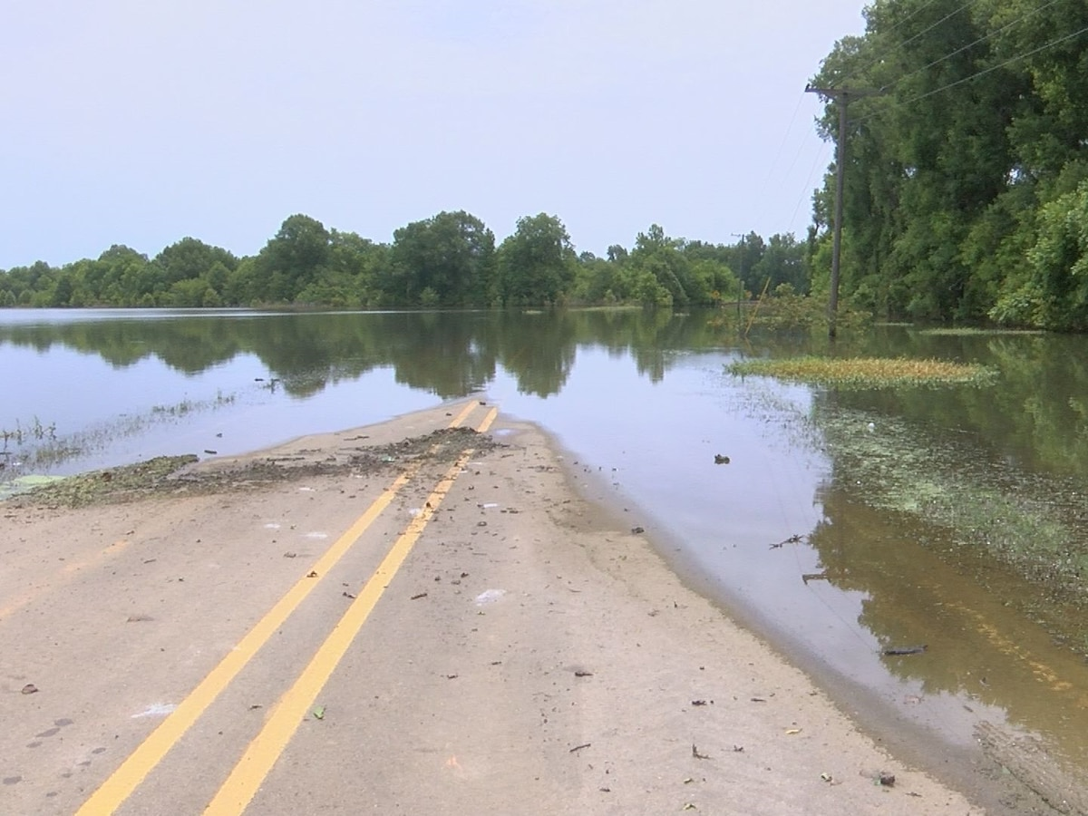 Backwater slowly begins to recede in Holly Bluff community