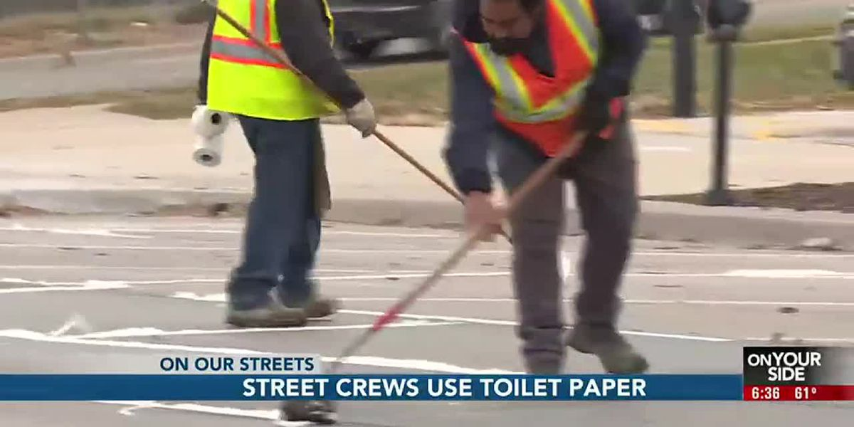 Work crews lining the streets of Omaha with toilet paper