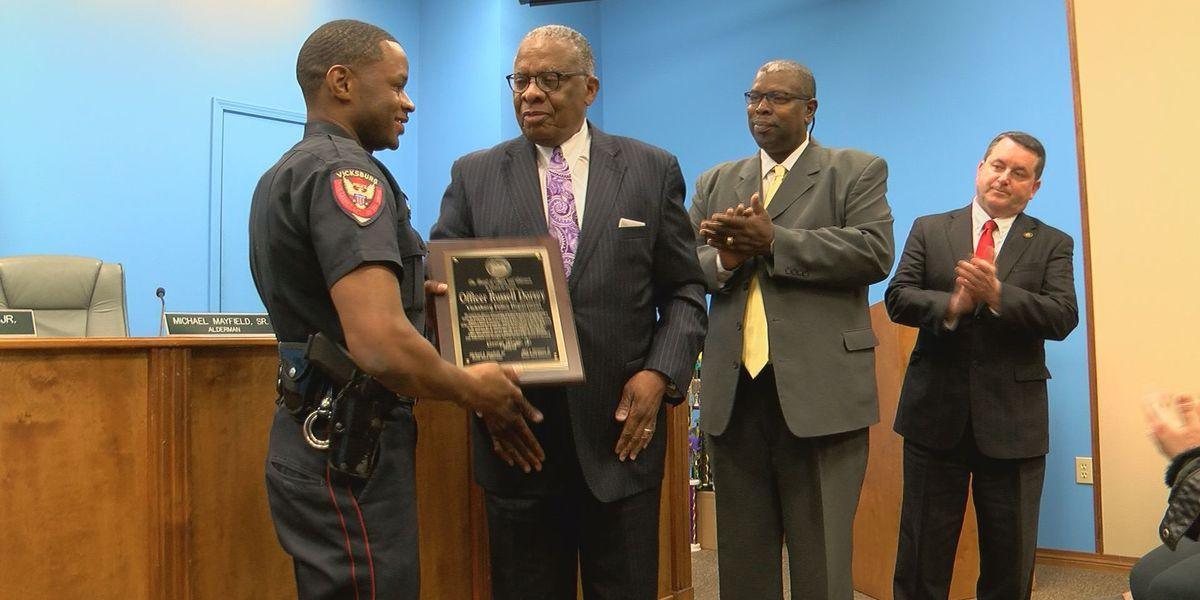 Vicksburg police officer honored for saving elderly man from burning home