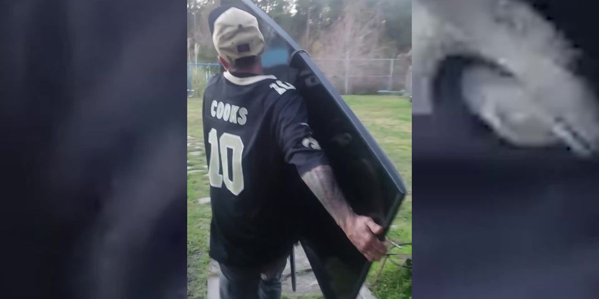 Saints fan tosses TV after heartbreaking missed call