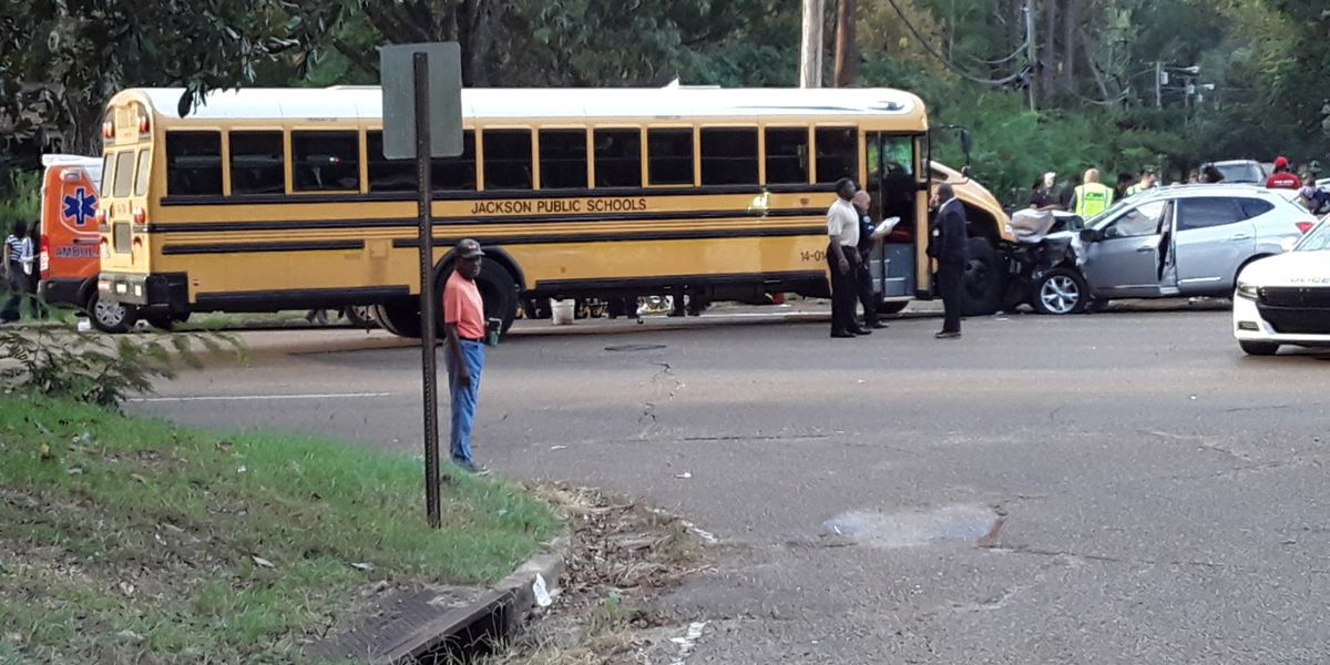 Jackson public school bus and SUV involved in crash