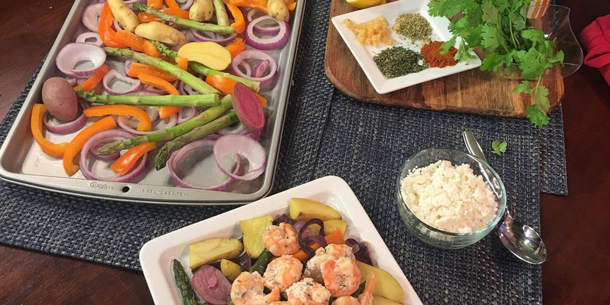 Sheet pan shrimp bake with nutritionist Rebecaa Turner