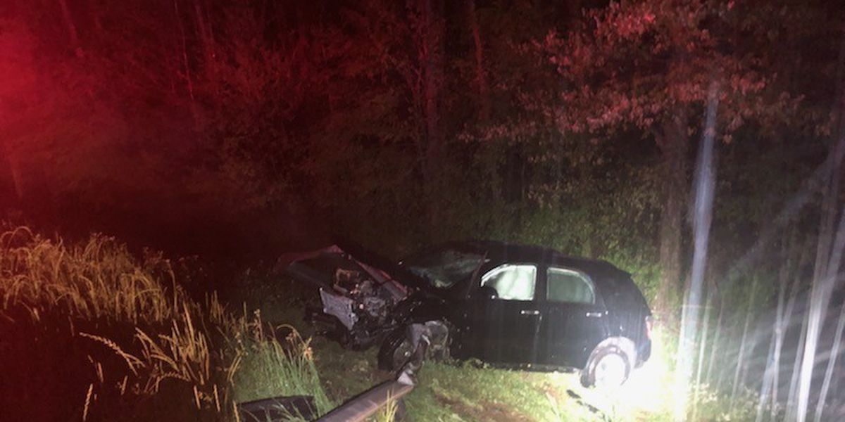 One adult, 3 children injured after car hits guard rail on I-20