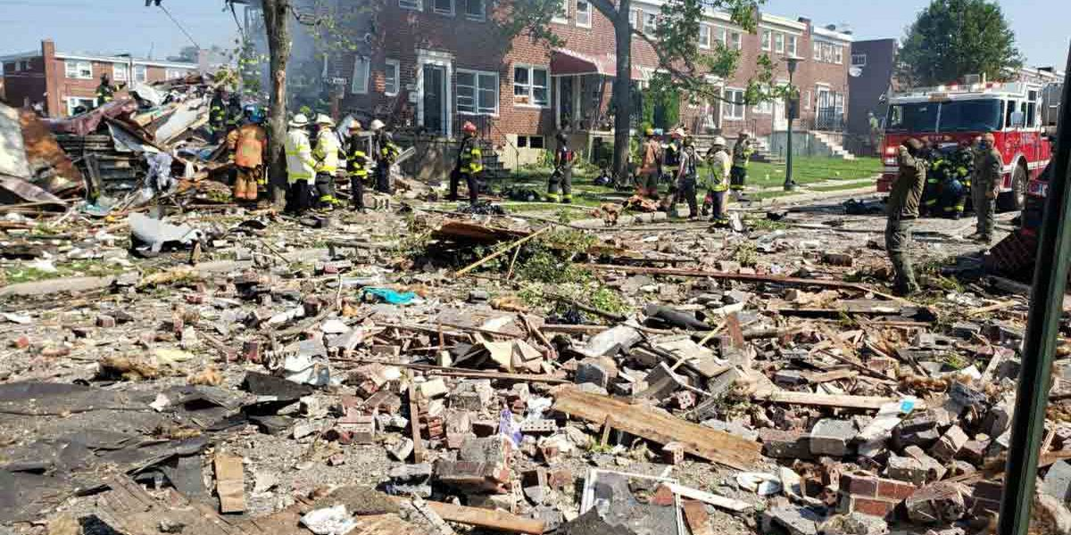 Explosion levels 3 Baltimore homes; 1 dead, 1 trapped